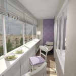 Фото 35: Интерьер балкона 3 метра в сиреневом тоне