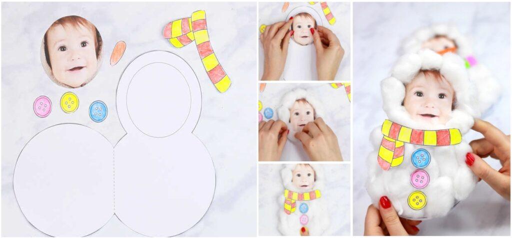 Подарок открытка с фото и ватными шариками снеговик