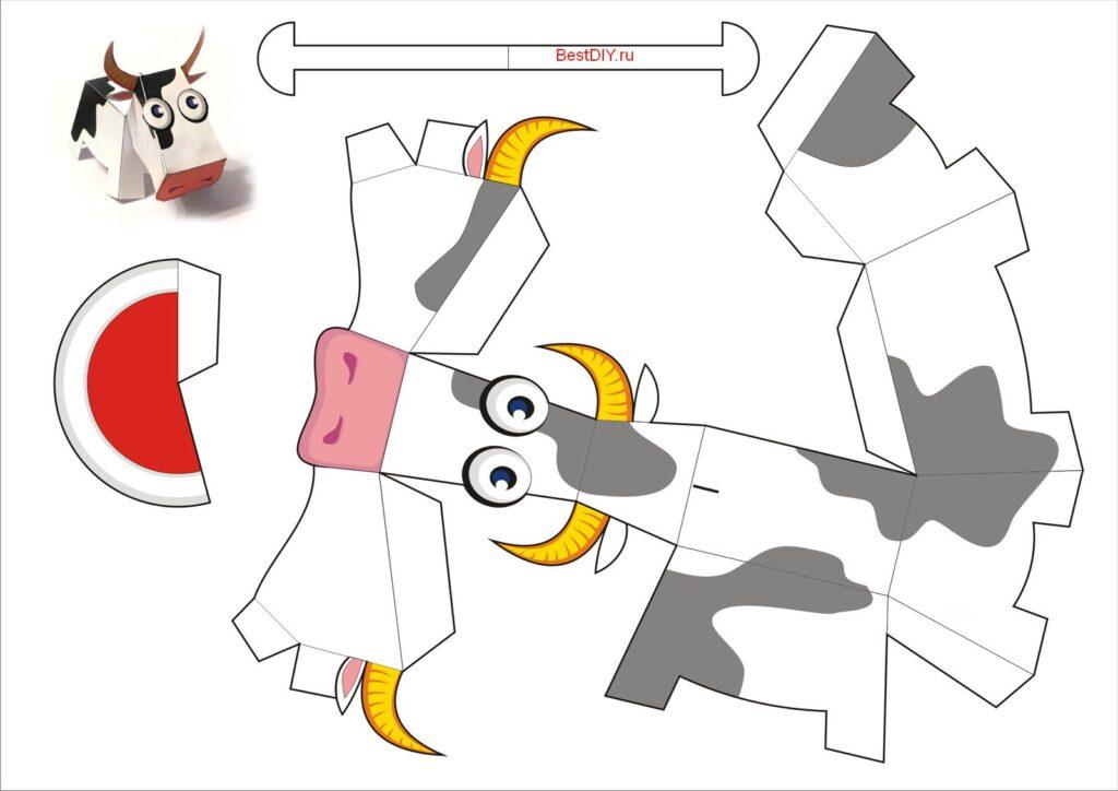 Схема быка из бумаги