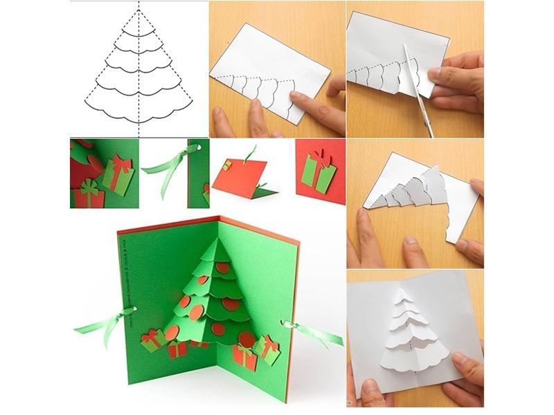 Открытка киригами с елочкой
