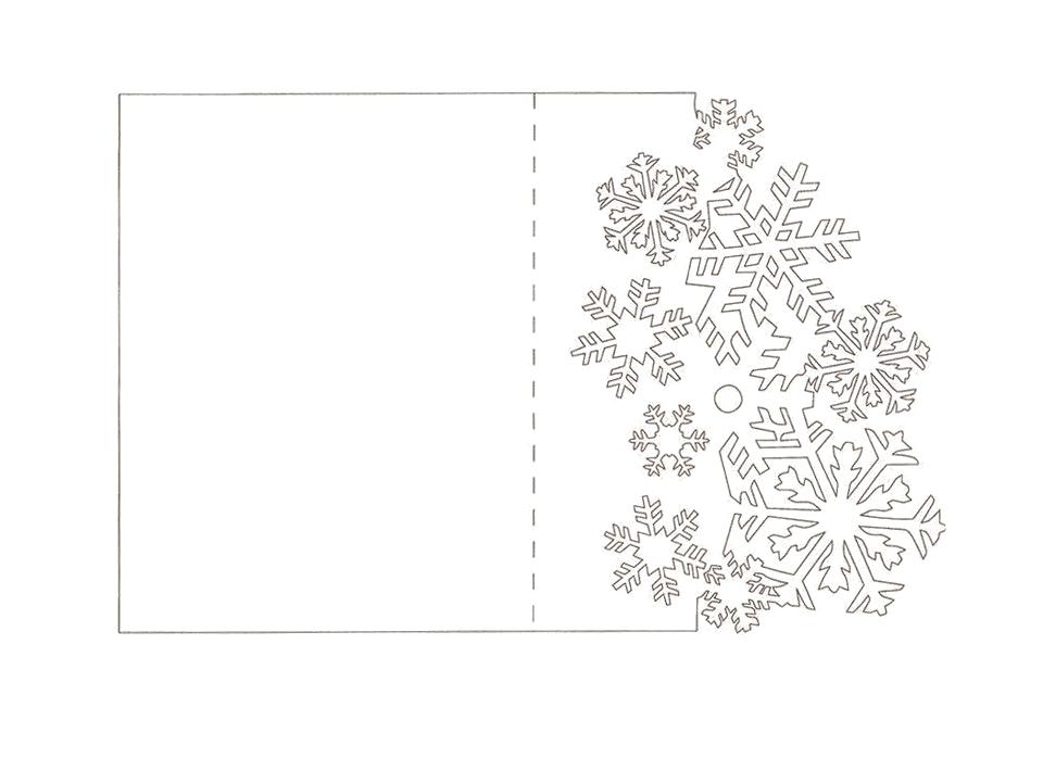 Шаблон открытки киригами со снежинками