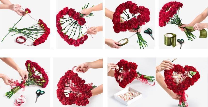 Букет из цветов и конфет на 14 февраля