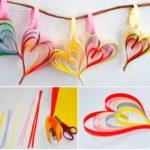 Фото 54: Разноцветные сердечки из полосок