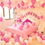 Фото 92: Декор спальни шариками на 14 февраля