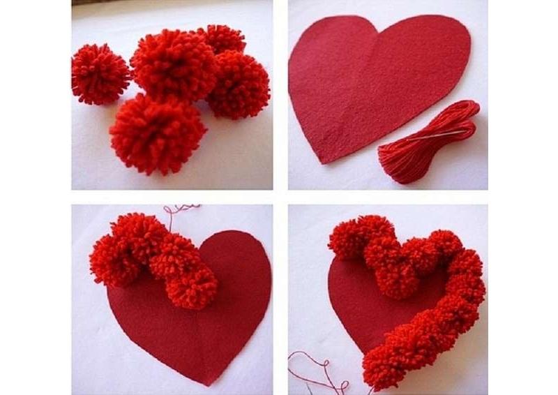 Декор сердца помпонами