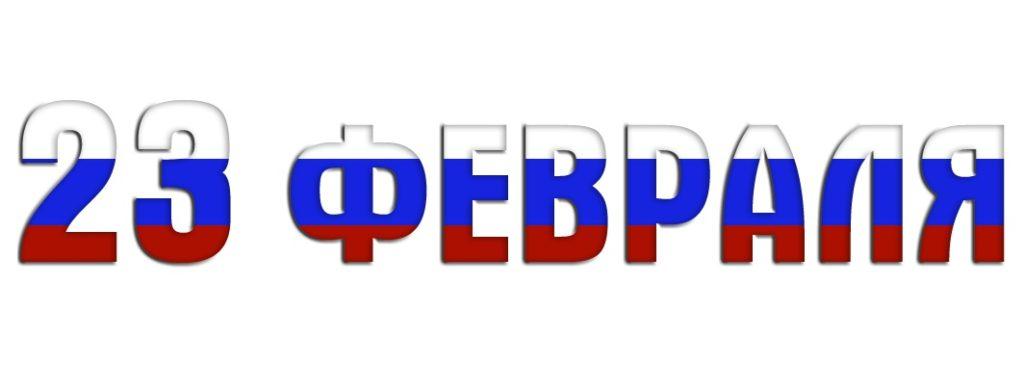 Патриотическая надпись 23 февраля цветами флага