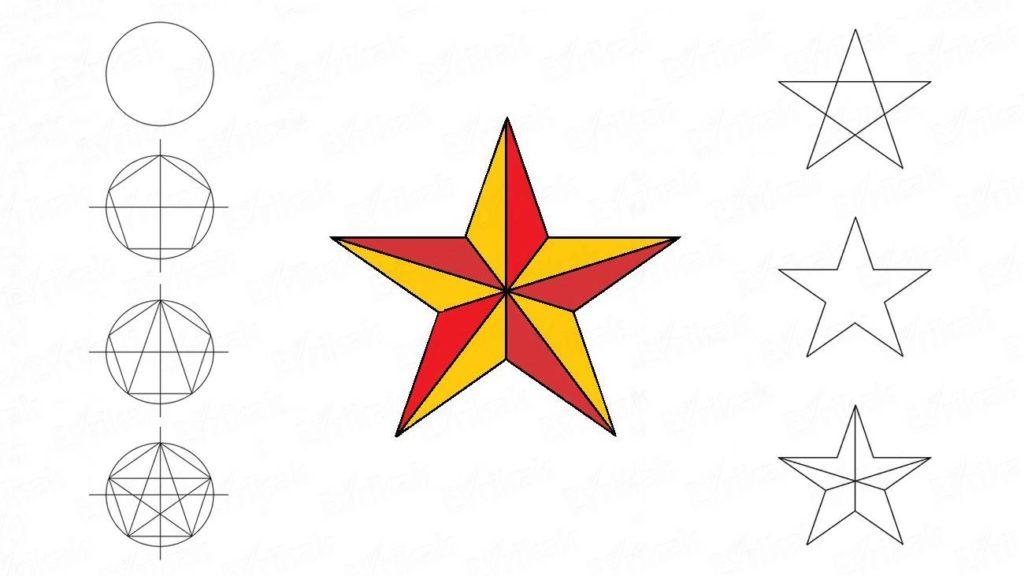Нарисовать фронтовую звезду карандашом