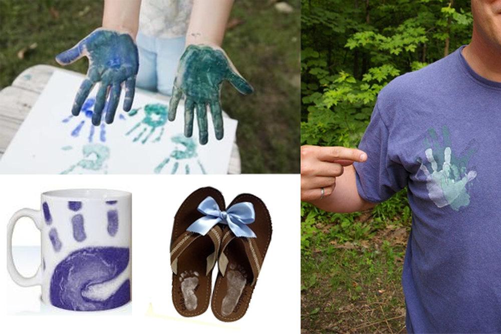 Подарки с отпечатками ладоней и следами ног на ткани, футболке, кружке, тапочках