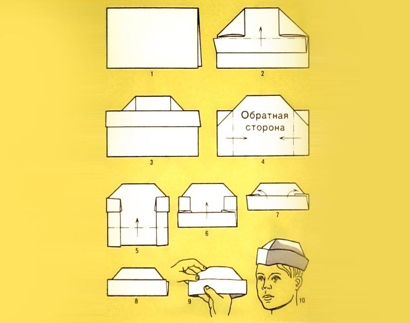 Сделать пилотку своими руками из бумаги оригами на 23 февраля