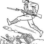 Фото 66: Раскраска солдаты идут в бой на День Защитника Отечества