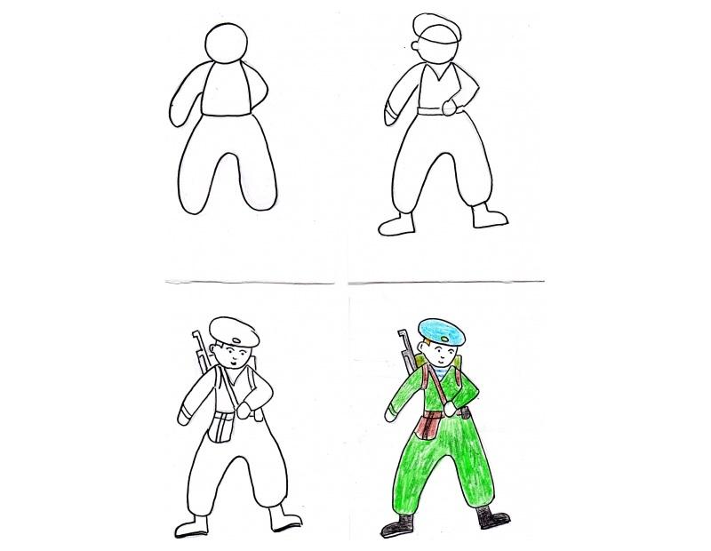 Как рисовать солдата с оружием за спиной