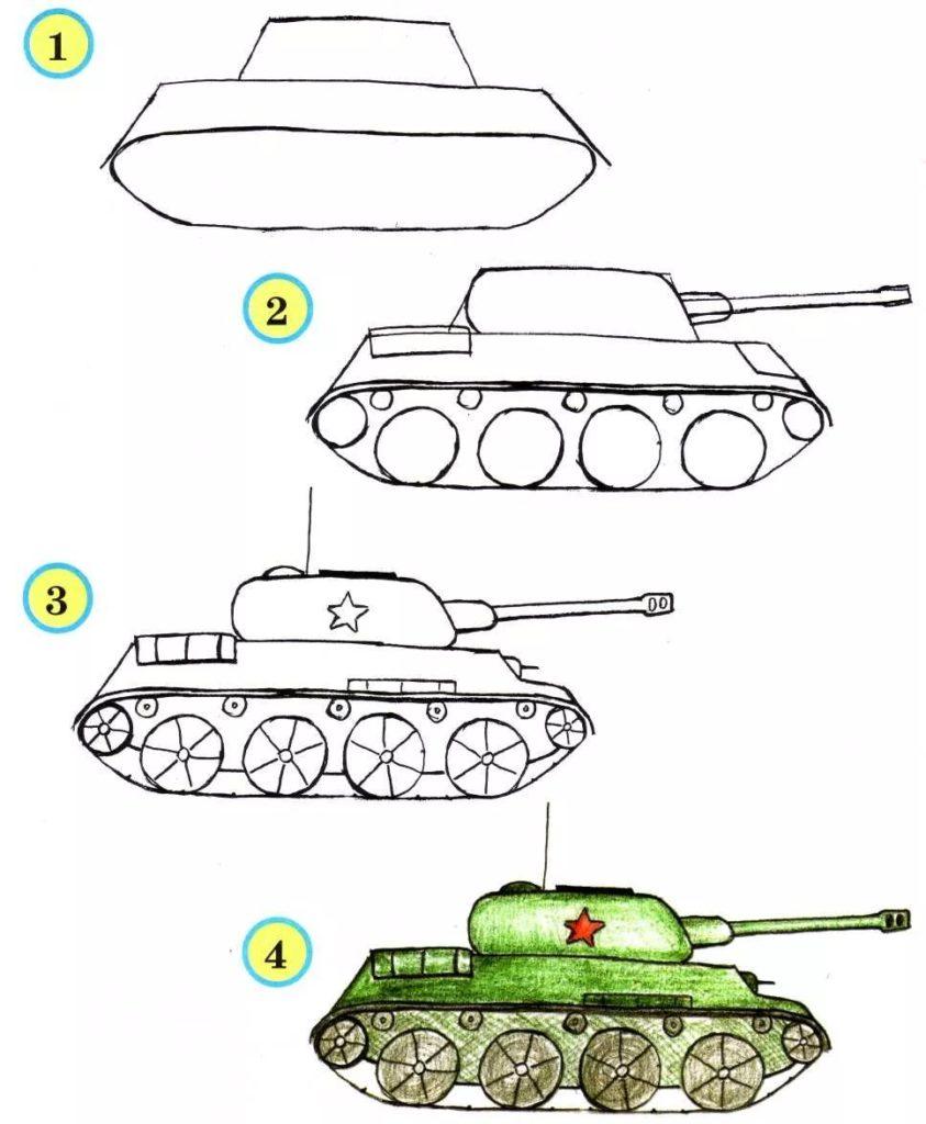 Рисуем танк поэтапно своими руками