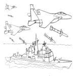 Фото 84: Рисунок авиация атакует корабль черно-белый