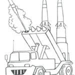 Фото 85: Рисунок-раскраска запуск ракеты из машины БТР