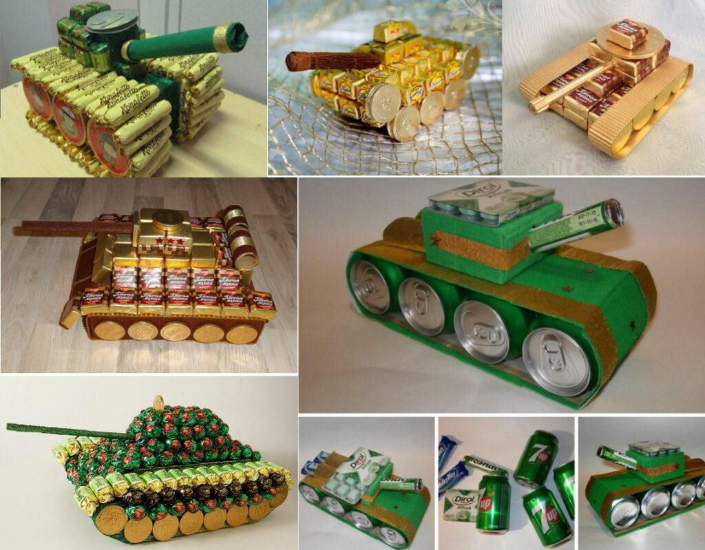 Сладкие танки из конфет на 23 февраля