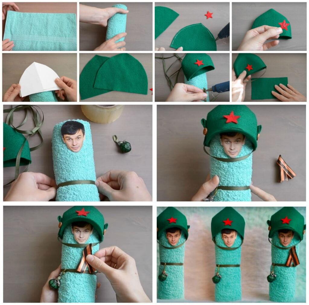 Подарок солдат из полотенца на 23 февраля своими руками