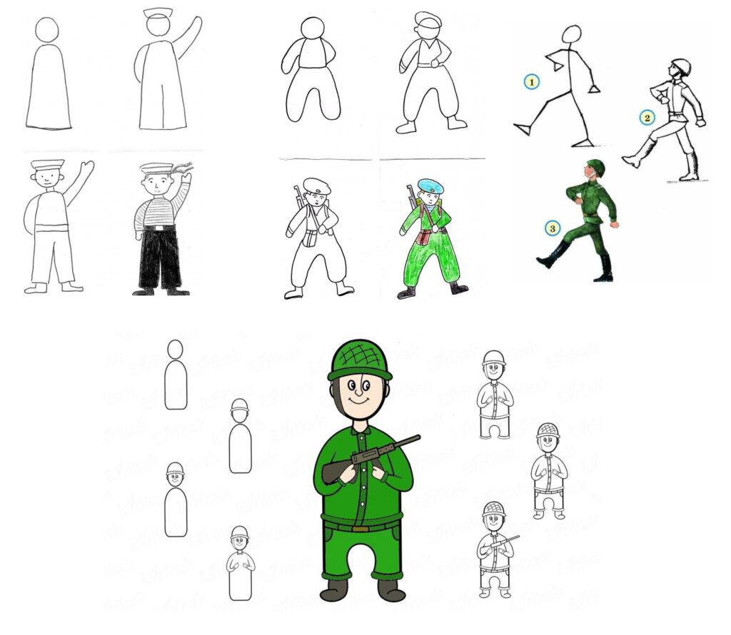 Нарисовать солдата поэтапно на 23 февраля своими руками