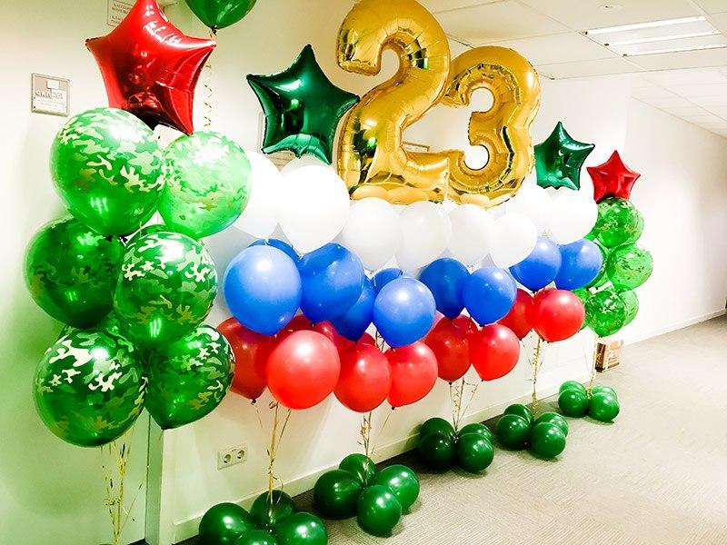 Декор помещения воздушными шарами на День Защитника Отечества