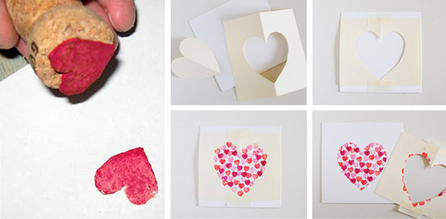 Сердечко с помощью штампов
