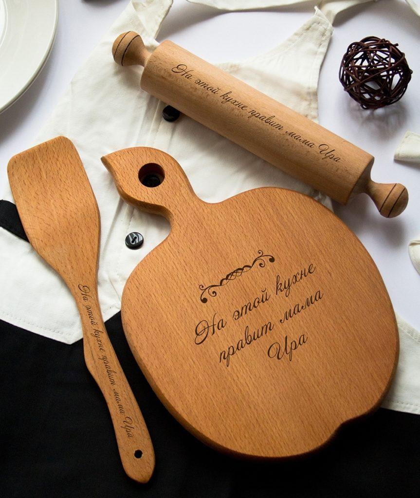 Кухонные принадлежности со смешной гравировкой на 8 марта в подарок жене