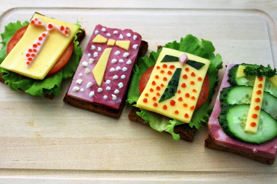 Идеи оригинальных бутербродов на 23 февраля