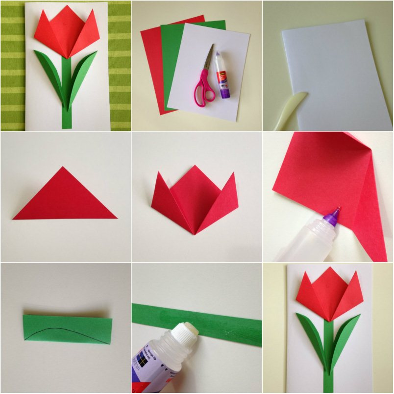 Сделать открытку оригами на 8 марта своими руками