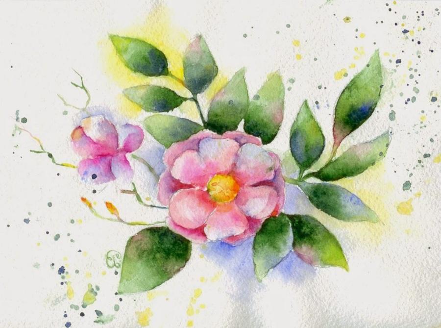 Рисунок акварелью цветов на 8 марта