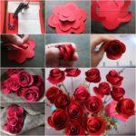 Фото 92: Сделать букет роз из бумаги своими руками на 8 марта