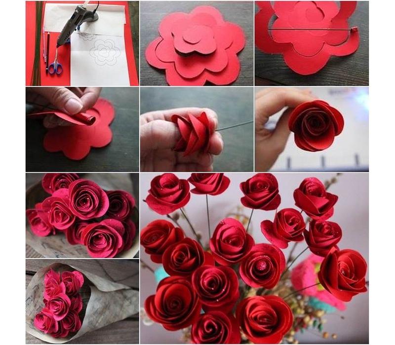 Сделать букет роз из бумаги своими руками на 8 марта