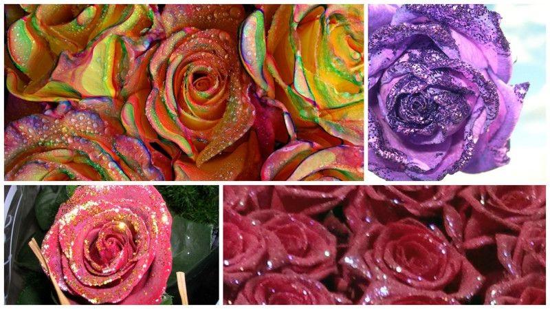 Розы с блестками на 8 марта