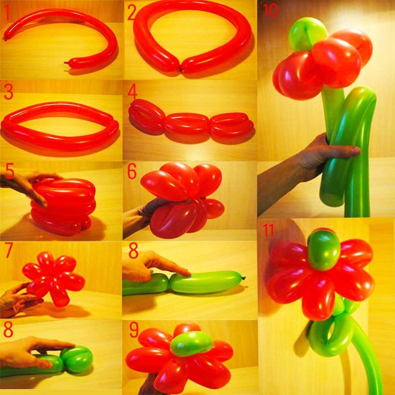 Как сделать цветы из воздушных шариков шариков своими руками