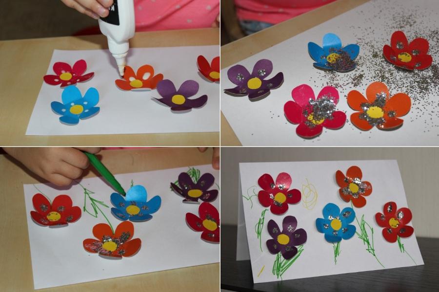 Украсить открытку блестками на 8 марта