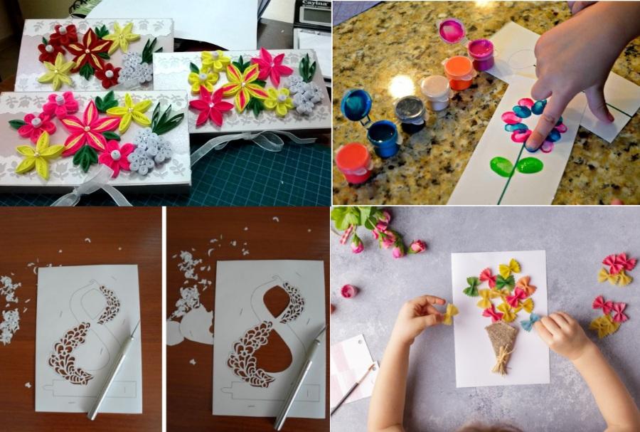 Идеи открыток на  8 марта в разных творческих техниках