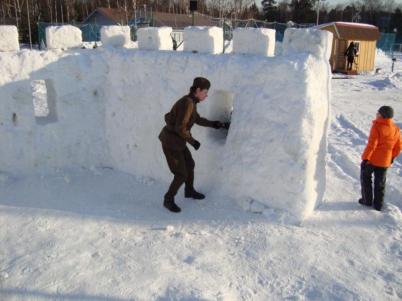 Построить крепость из снега на 23 февраля