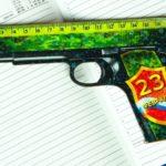Фото 131: Линейка пистолет на 23 февраля в подарок мальчикам