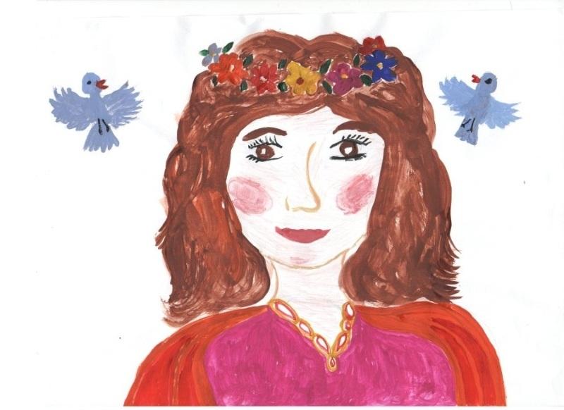 Детский рисунок портрет Мамы на 8 Марта