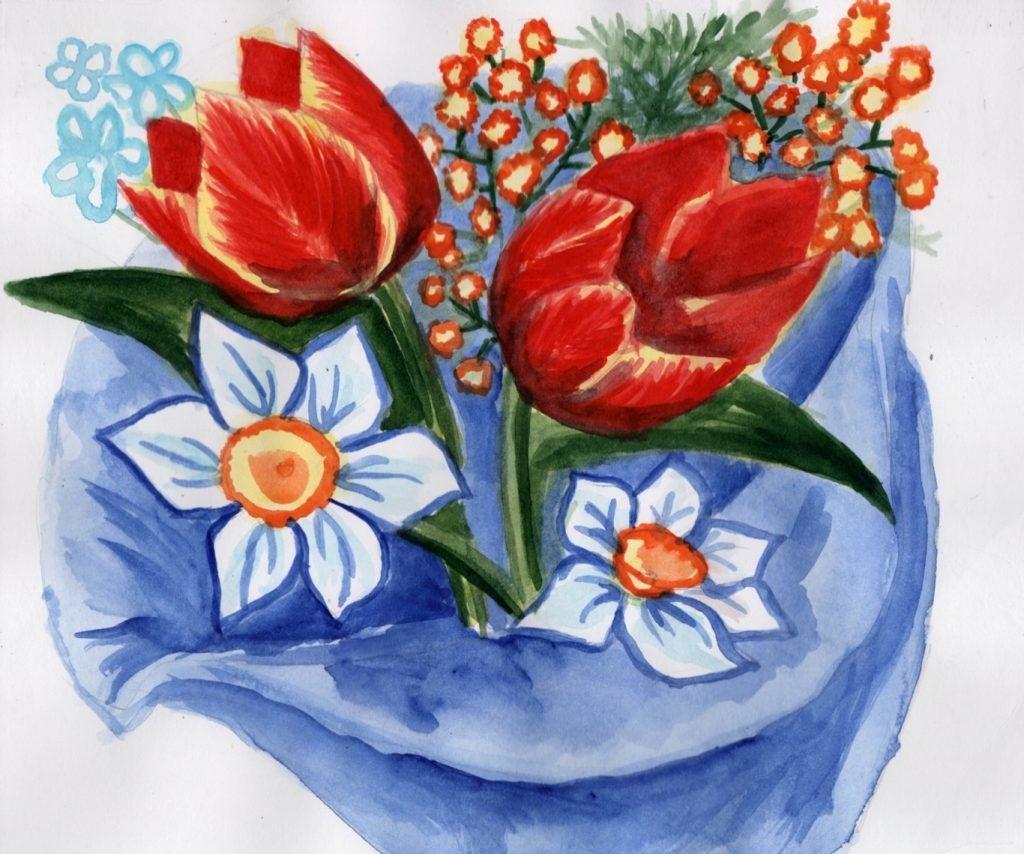Рисунок весенние цветы на 8 марта