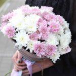 Фото 114: Нежный букет хризантем девушке а подарок на 8 марта