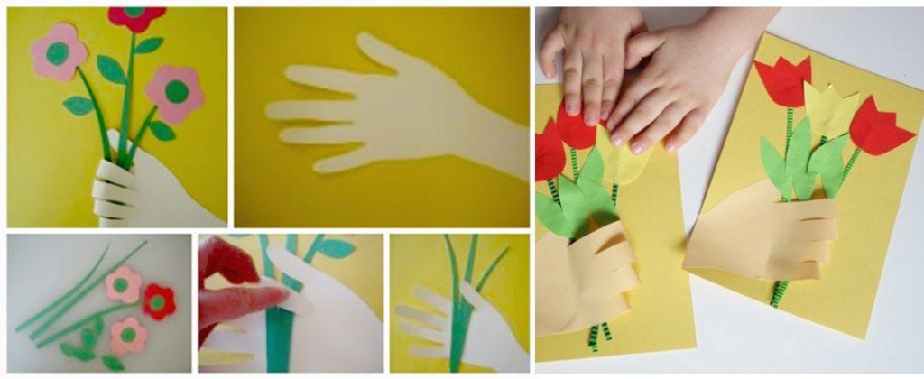 Как сделать открытку букет в ладошке своими руками на 8 марта