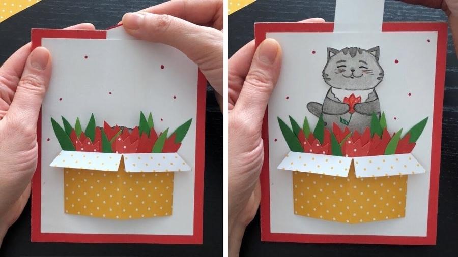 Открытка сюрприз с котиком на 8 марта своими руками