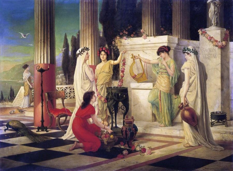 Почитание богини Весты в храме в честь плодородия