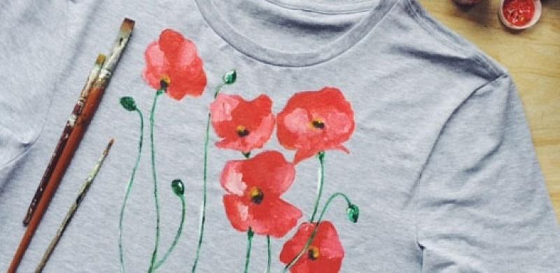 Роспись футболки на 8 Марта своими руками
