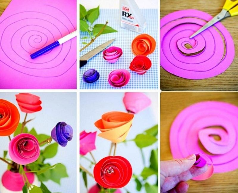 Вырезать розы из бумаги по спирали своими руками
