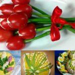 Фото 67: Оригинальное украшение салатов на 8 марта