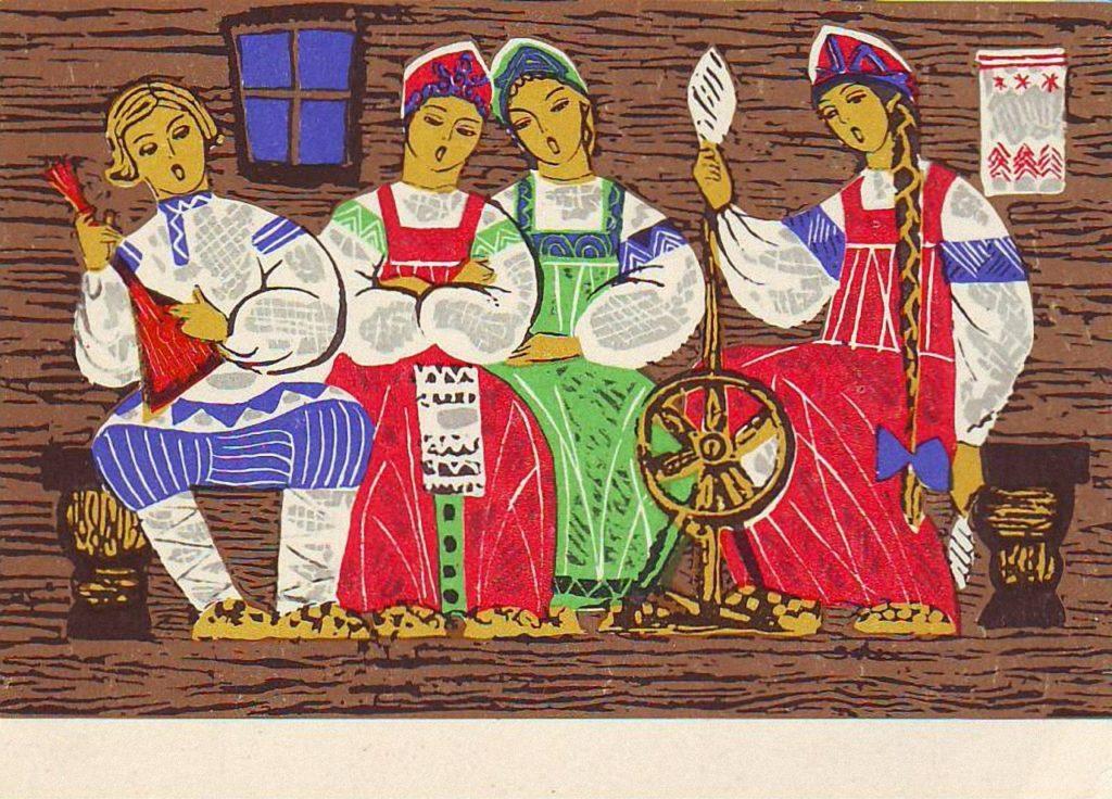 Рисунок три девицы под окном из сказки