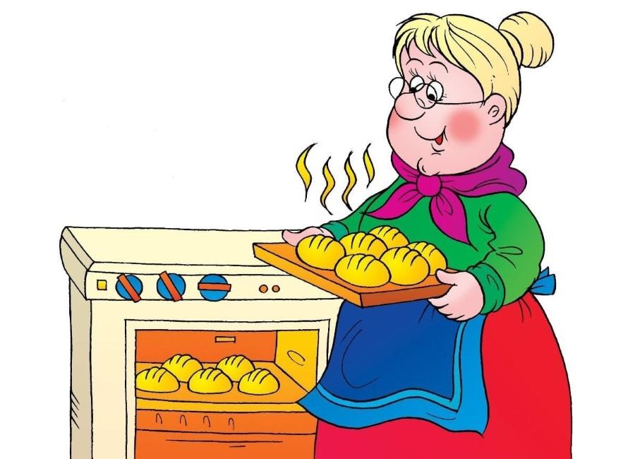 Рисунок бабушка печет булочки