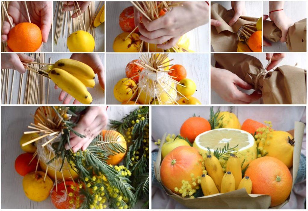 Как сделать букет из фруктов и цветов своими руками