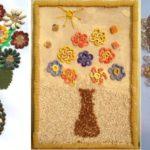 Фото 25: Поделки цветочные панно из круп