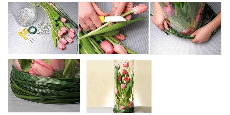 Декор вазы живыми тюльпанами на 8 марта