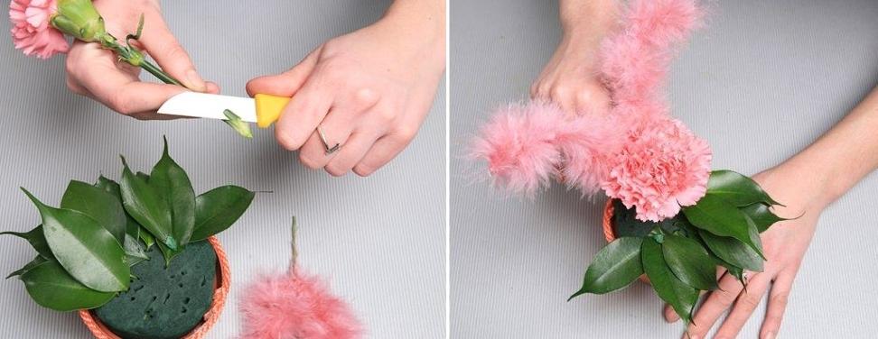 Как воткнуть цветы в пиафлору